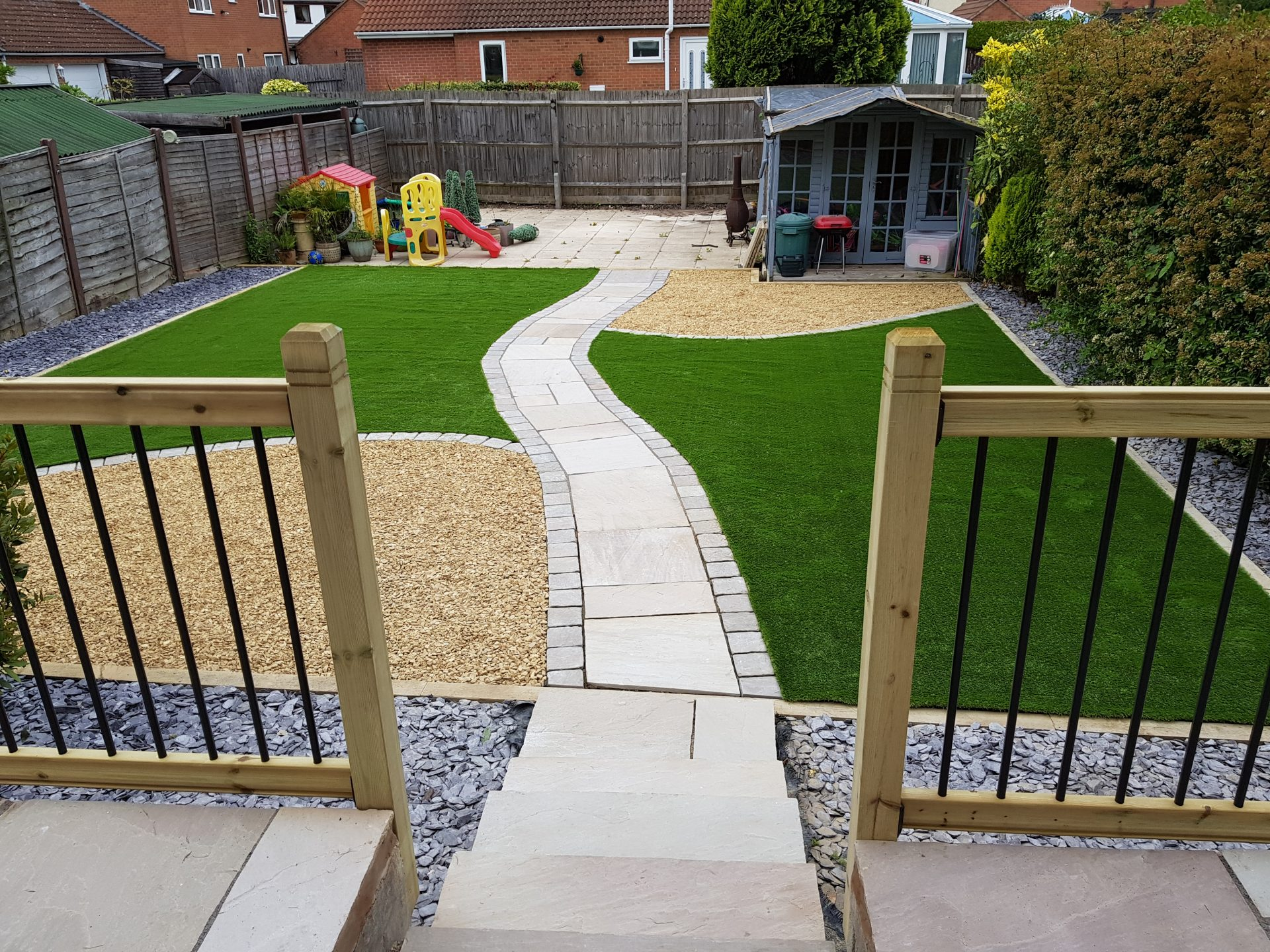 Easy maintenance landscaped garden artificial grass and patio
