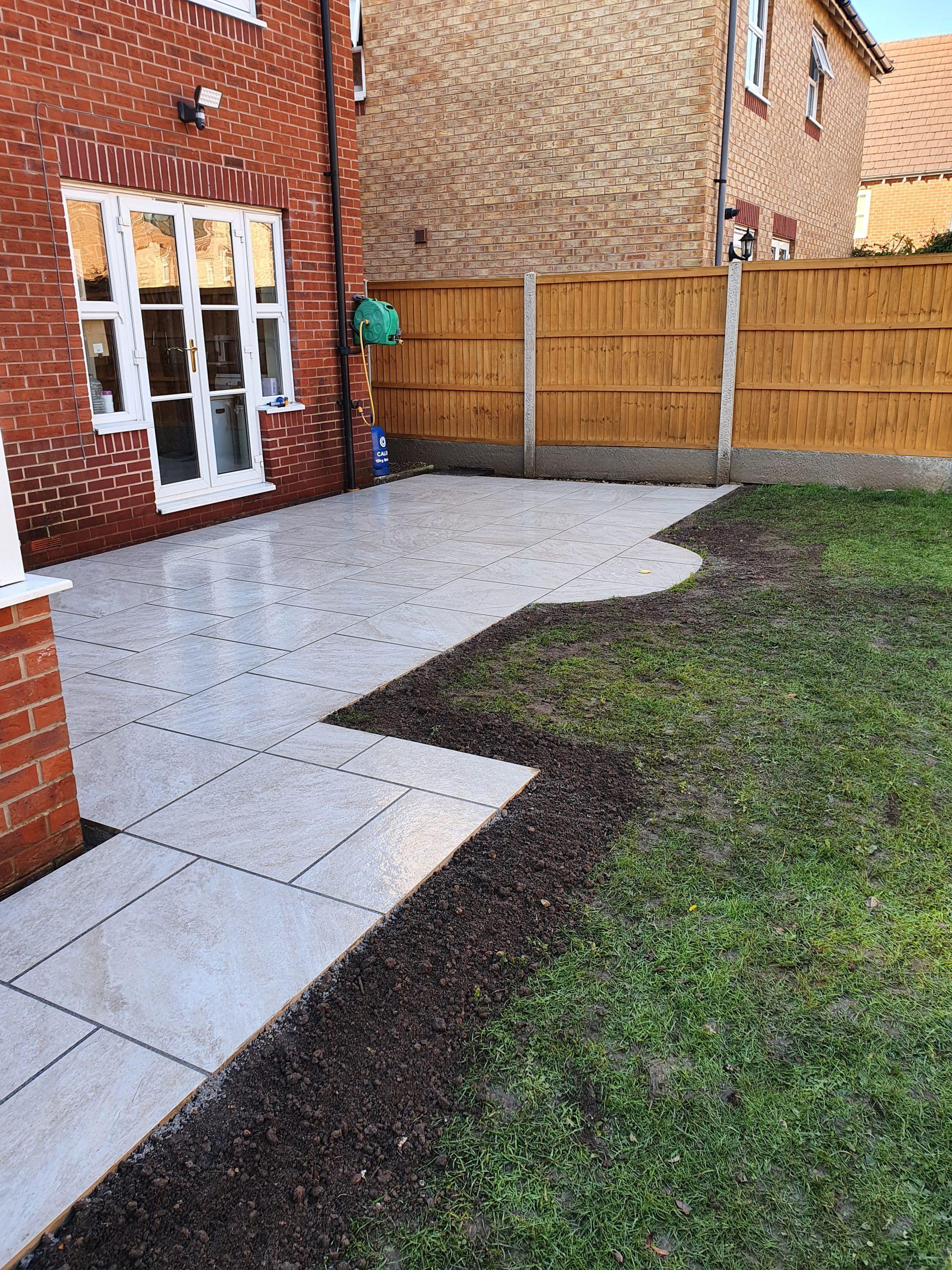 shaped patio area