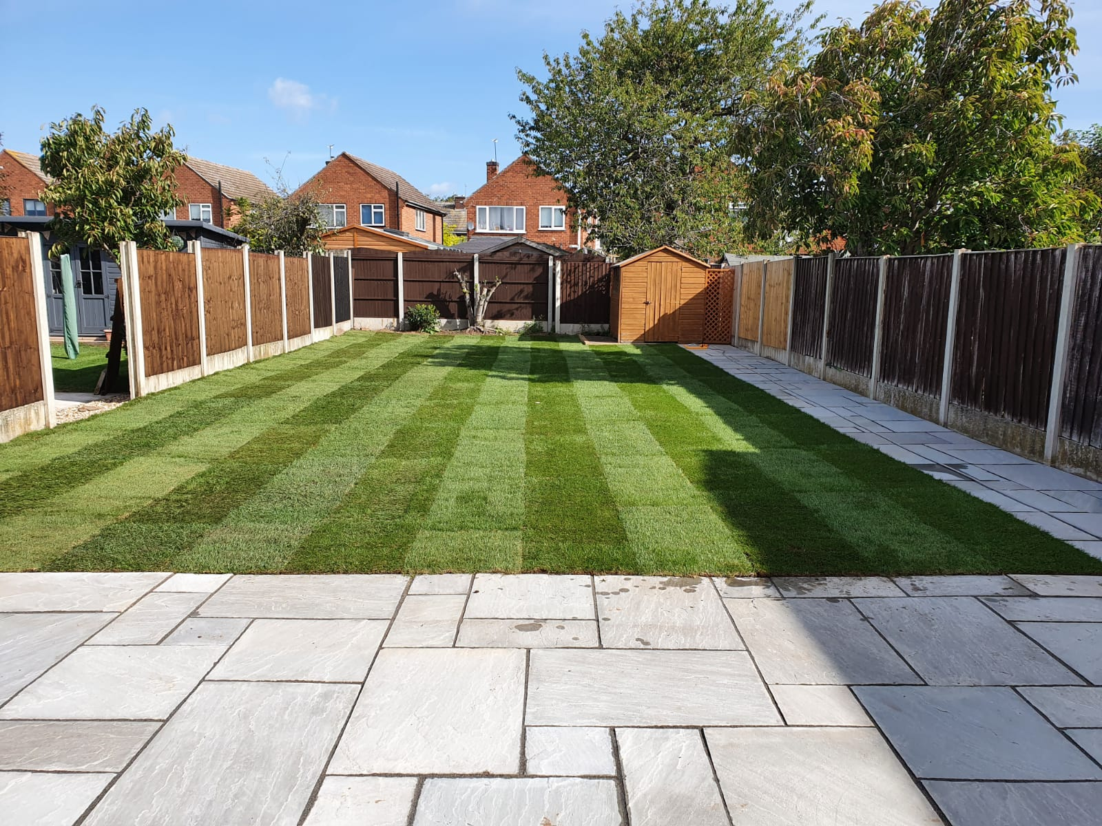 Newly laid lawn and patio